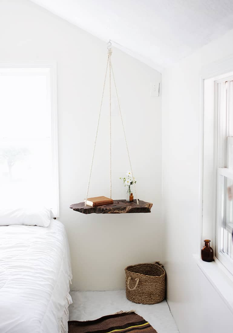 Diy hanging wooden side table