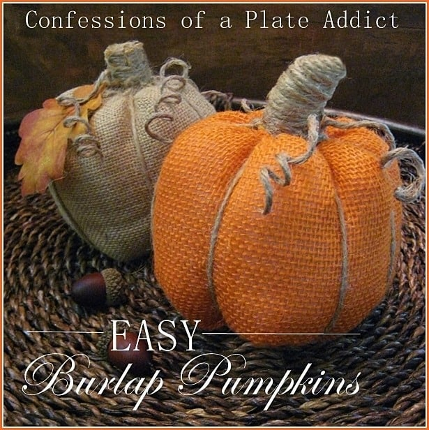Easy no sew burlap pumpkins
