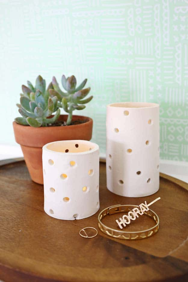 Easy white clay candle votives