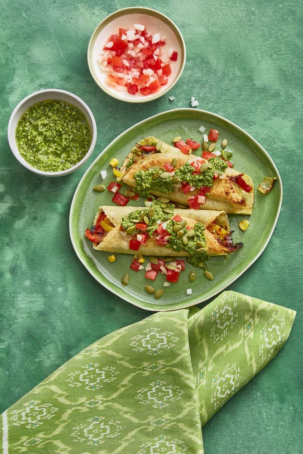 Enchiladas with pumpkin seed salsa