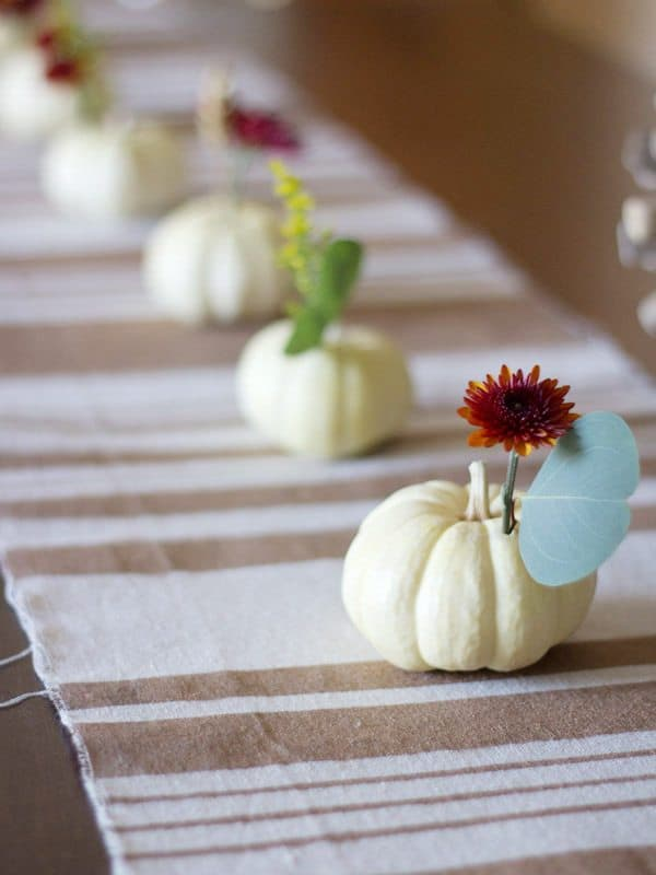 Floral mini pumpkin centrepieces