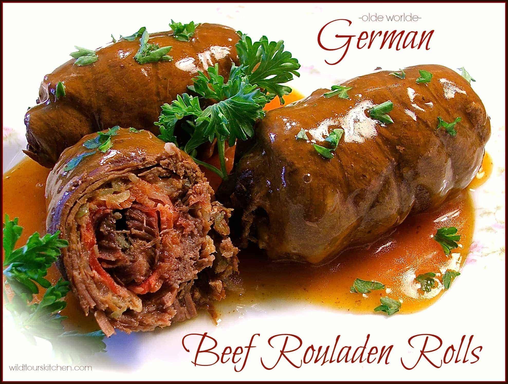German beef rouladen rolls