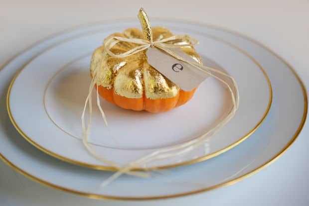 Gilded harvest mini pumpkin place cards