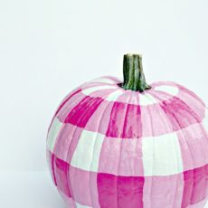 Gingham painted pumpkins