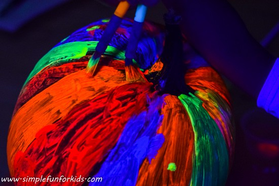 Pumpkin Painting Ideas with Fluorescent Paint