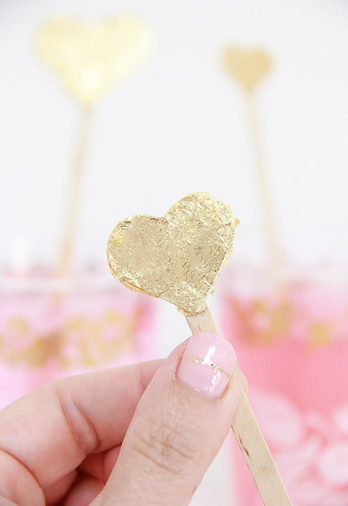 Gold leaf heart drink stirrers