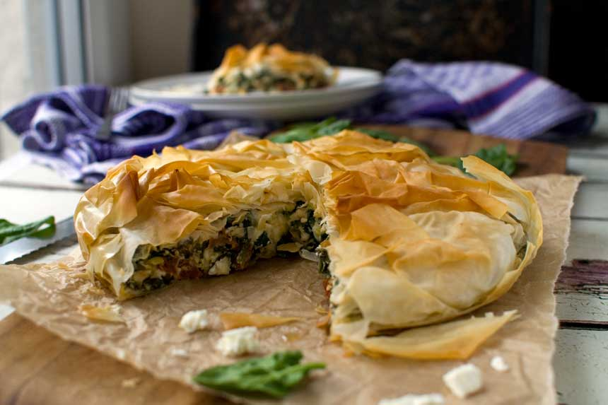 Greek spinach and feta philo pie