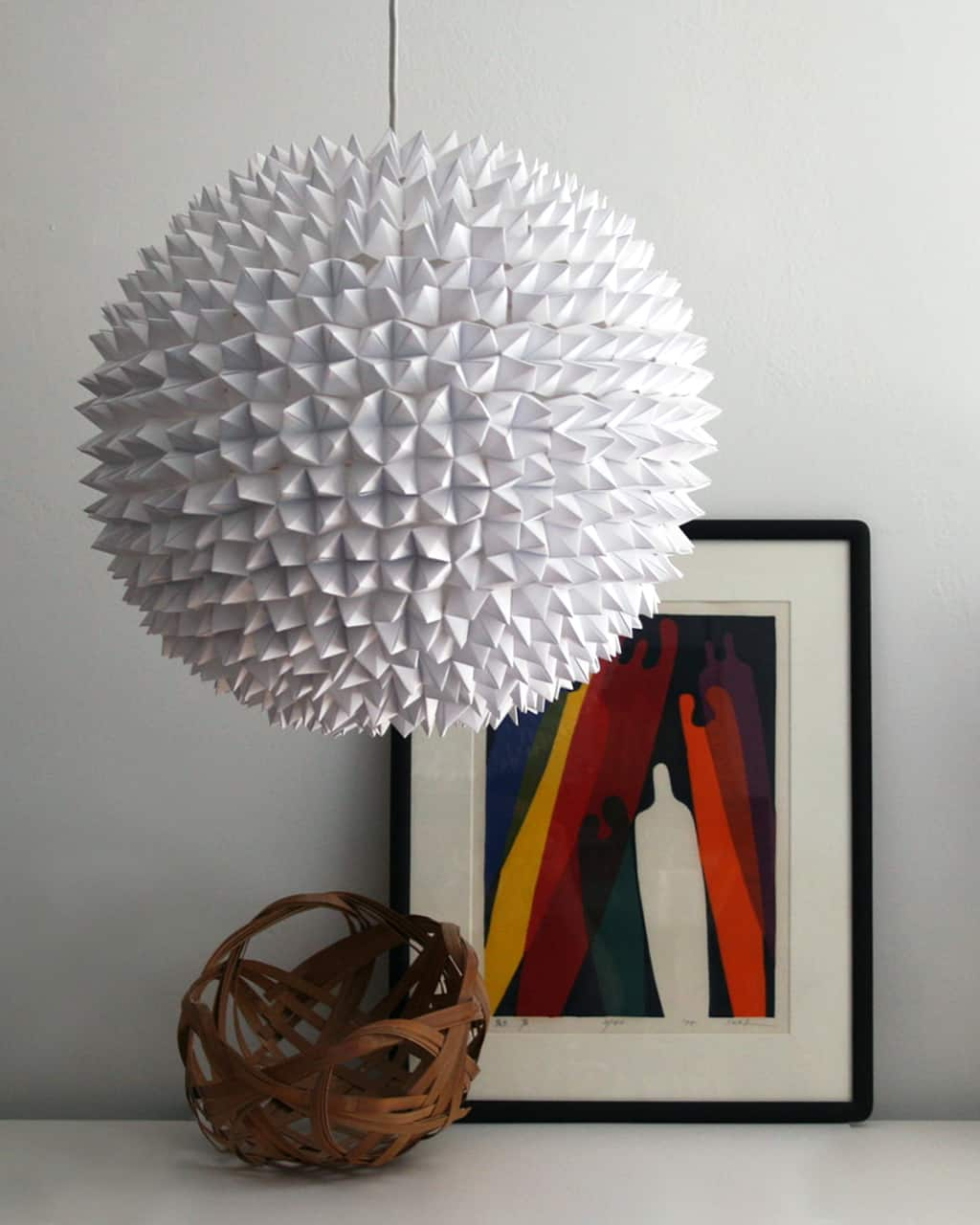 Large spherical faceted pendant lights