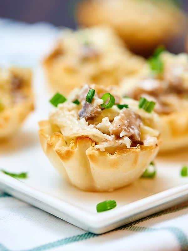 Mini carmelized onion, mushroom, and apple tarts