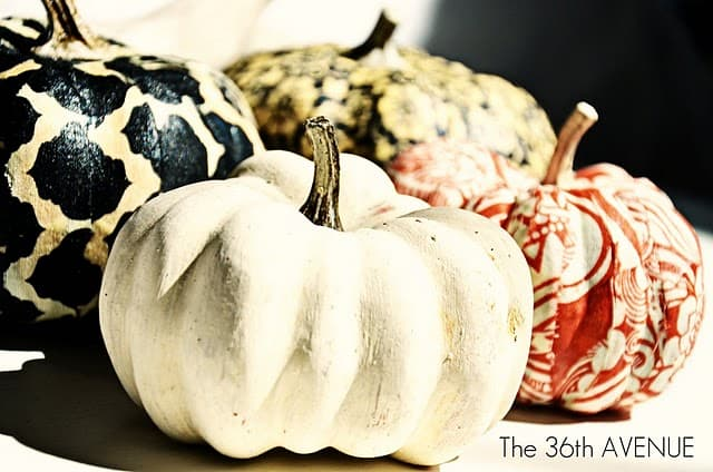 Mod podge fabric pumpkins
