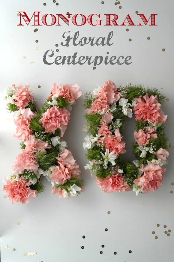 Monogram floral centrepiece