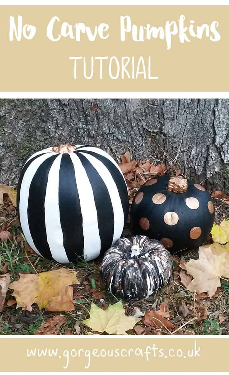 No carve black, white, and gold pumpkin painting