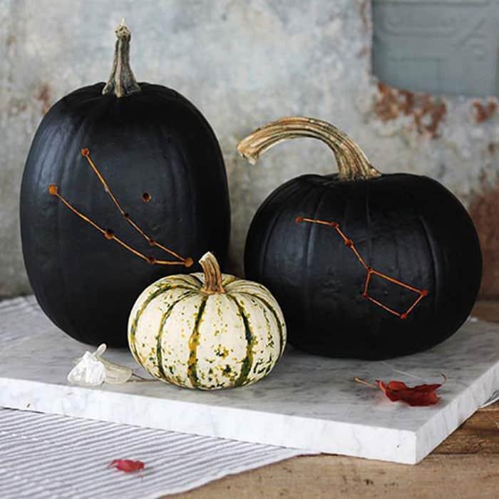 Painted constellation pumpkins