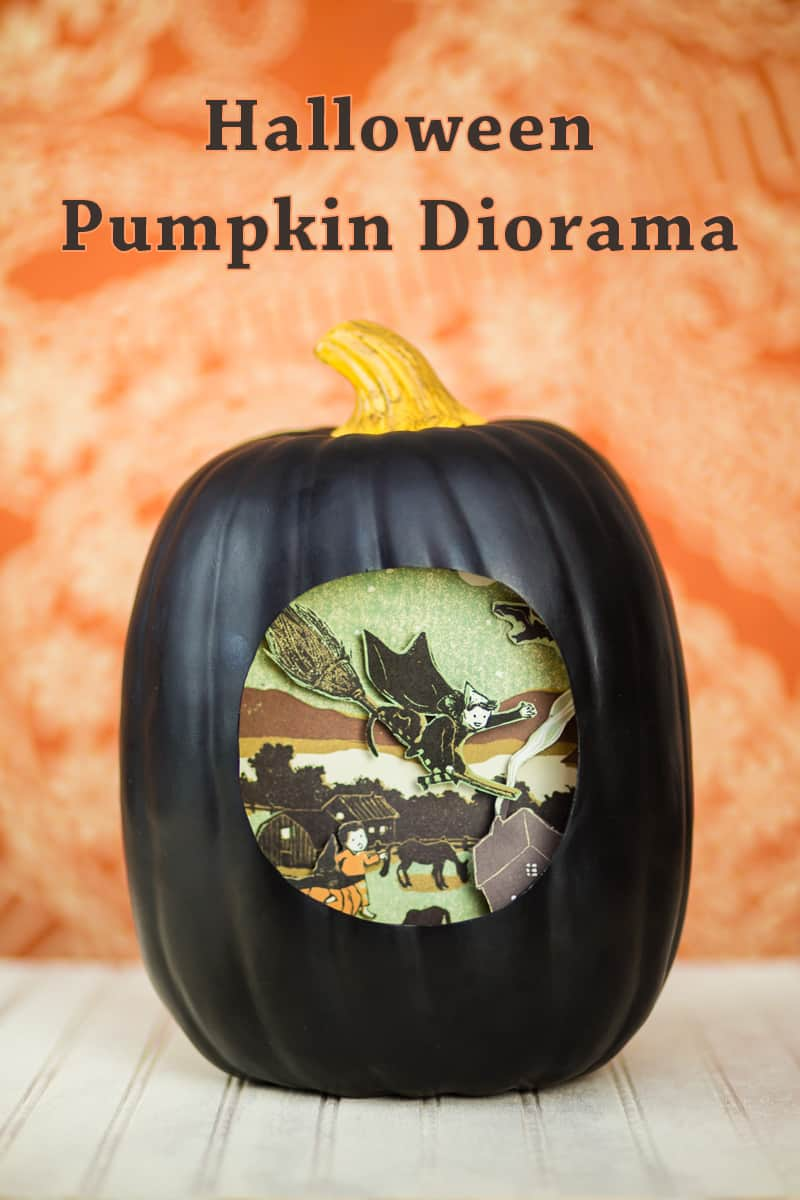 Painted pumpkin diorama