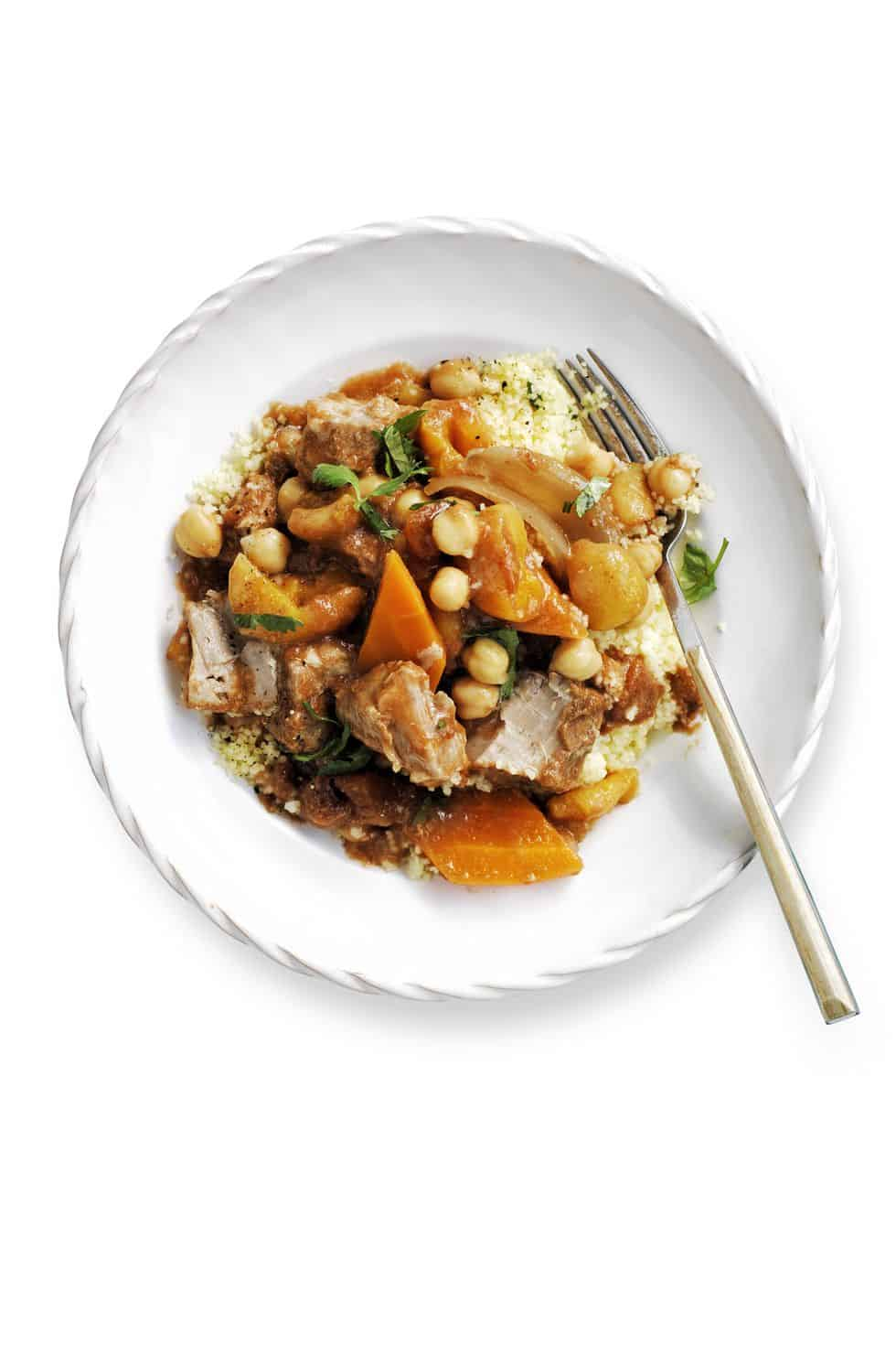 Pork, carrot, and chickpea stew