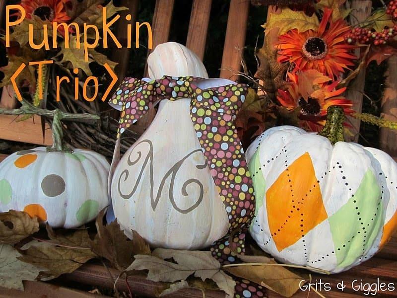 Pretty monogrammed pumpkin trio