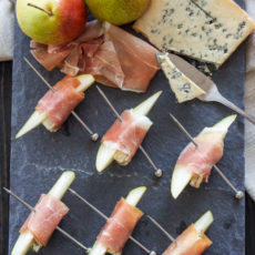 Prosciutto wrapped pears with blue cheese