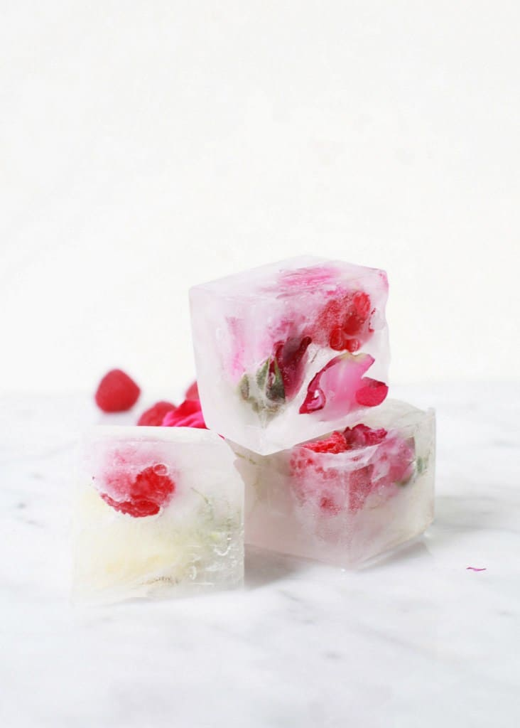 Raspberry and rose ice cubes