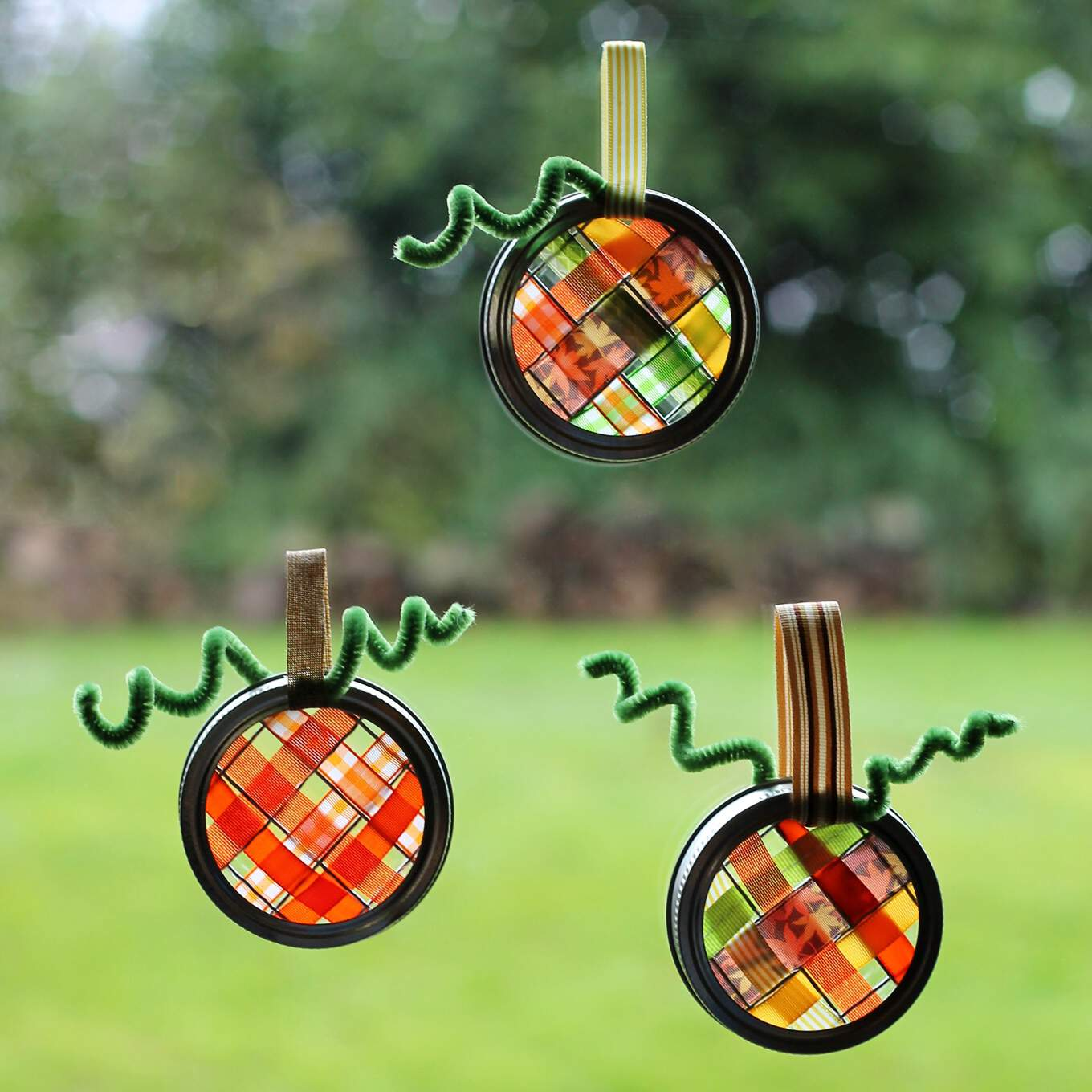 Ribbon pumpkin sun catchers