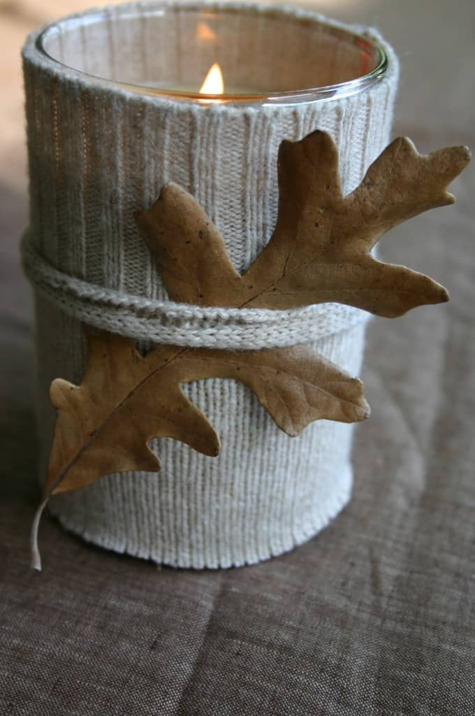 Rustic sweater candle
