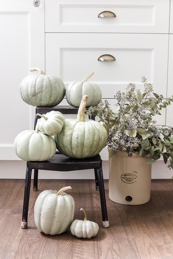 Sage Green Painted pumpkins
