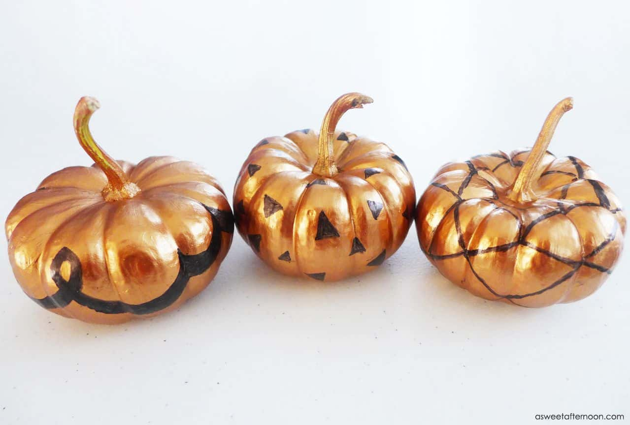 Sharpie and metallic paint mini pumpkins