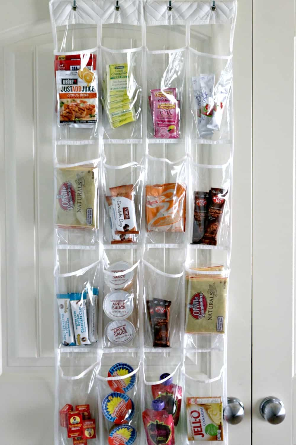 Shoe organizer for reachable kids' snacks