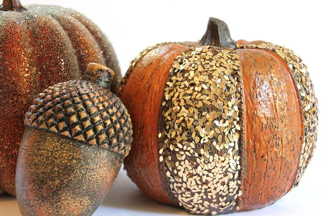 Textured painted pumpkins