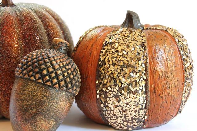 Textured Painted Pumpkins