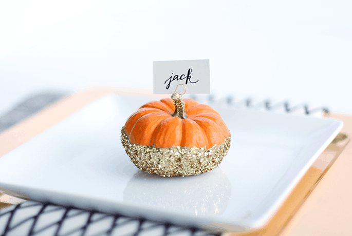 Tiny glitter pumpkin place holders