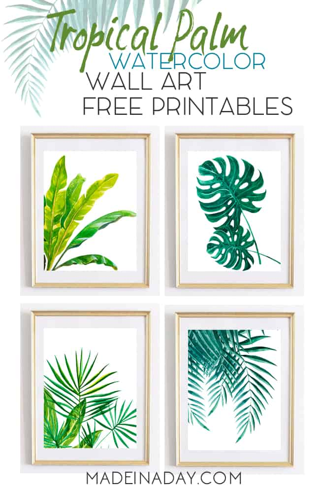 Tropical palm wall art watercolor printables