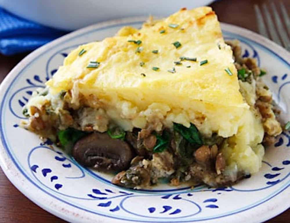Vegan lentil and mushroom sheperds pie