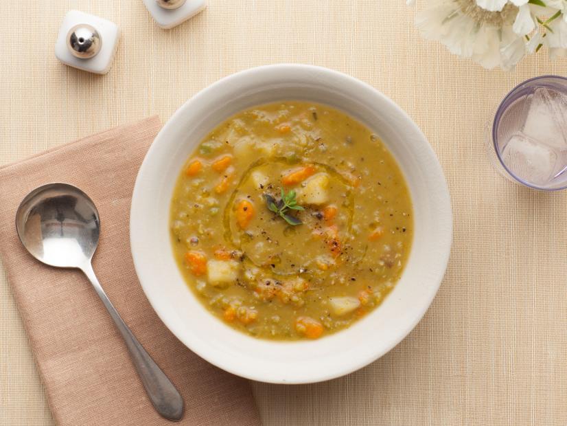 Warm and chunky split pea soup