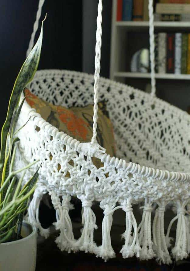 White diy hanging macrame chair