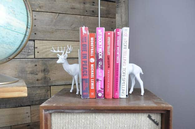White painted plastic animal book ends