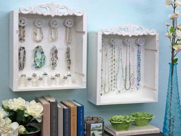 White painted wine crate wall mounted jewelry boxes