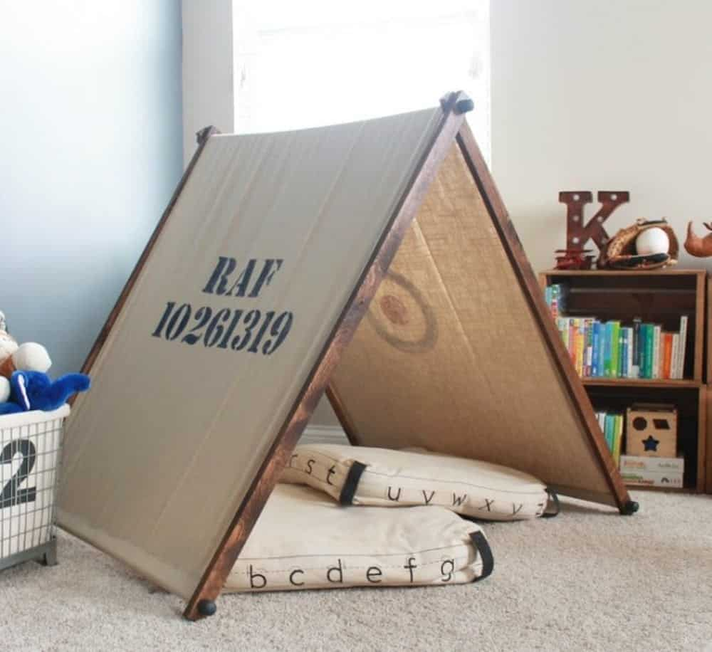 Army tent diy playhouse