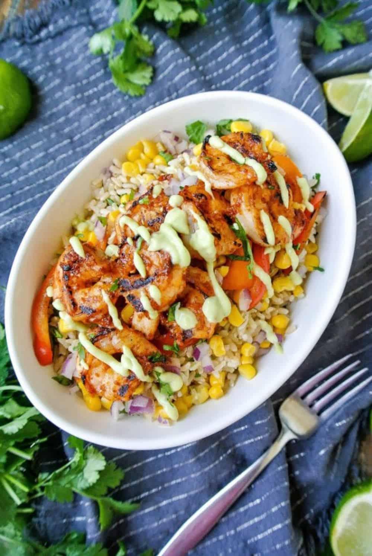Chipotle shrimp burrito bowl
