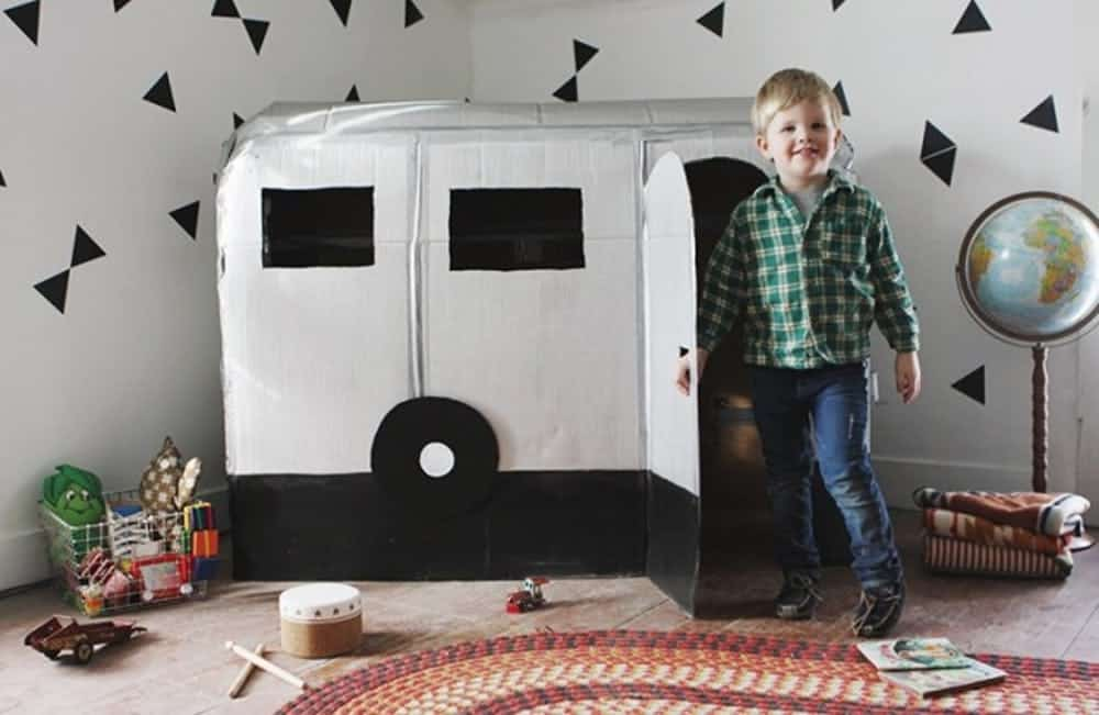 Diy cardboard camper playhous