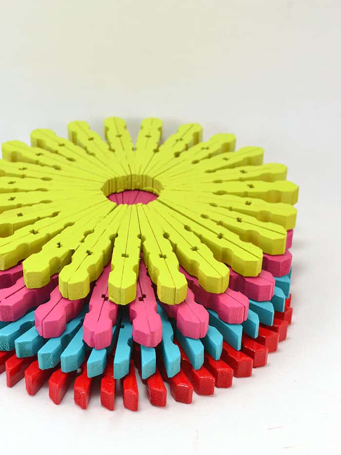 Diy colorful clothespin trivets