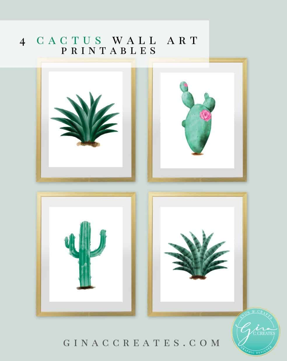 Free catus wall art printable pdf