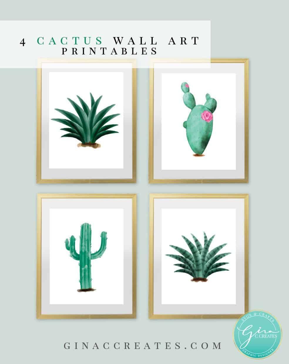 Free catus wall art printable pdf