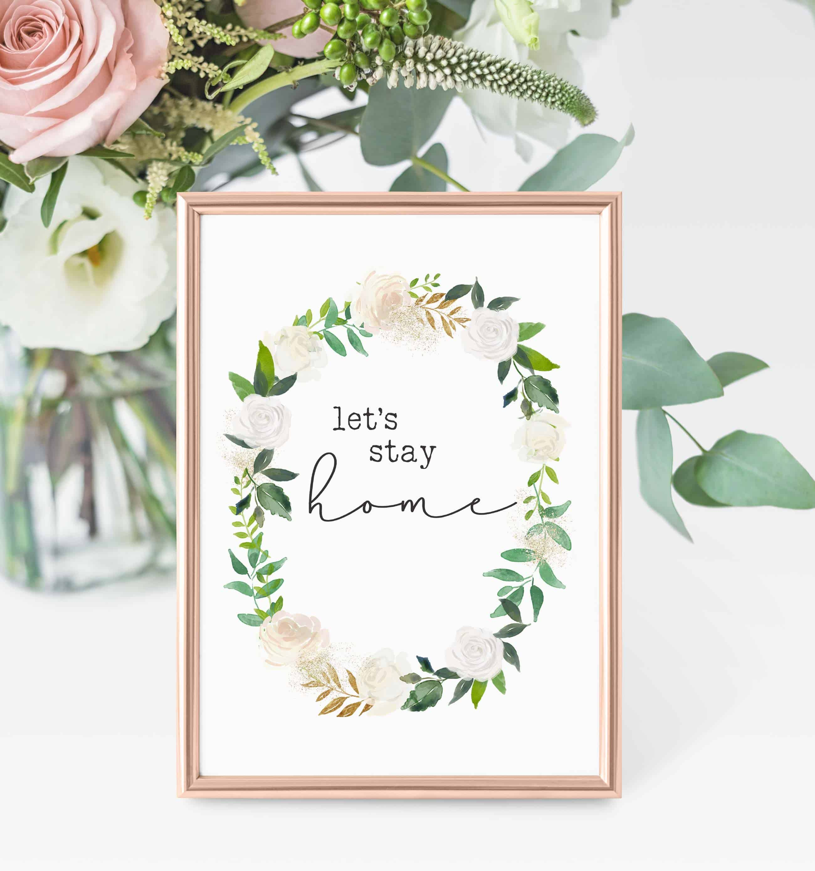 Free printables green and white flowers 01