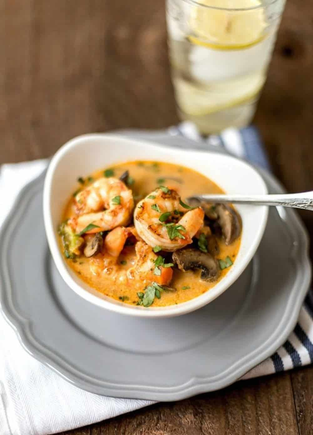 Shrimp and veggie coconut curry
