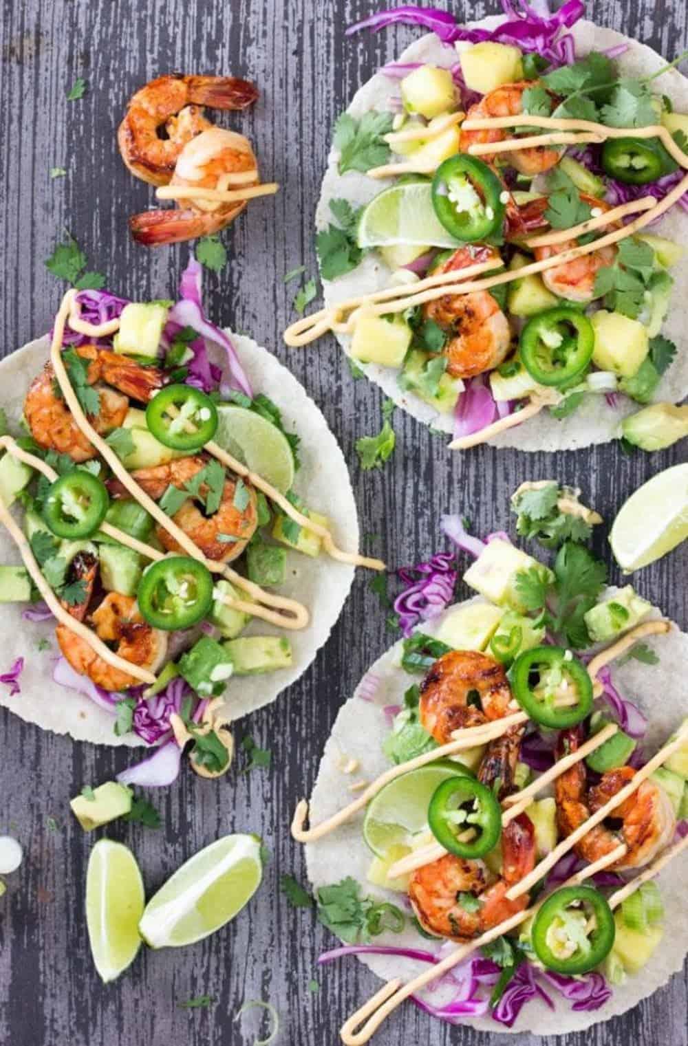 Shrimp tacos with pineapple salsa