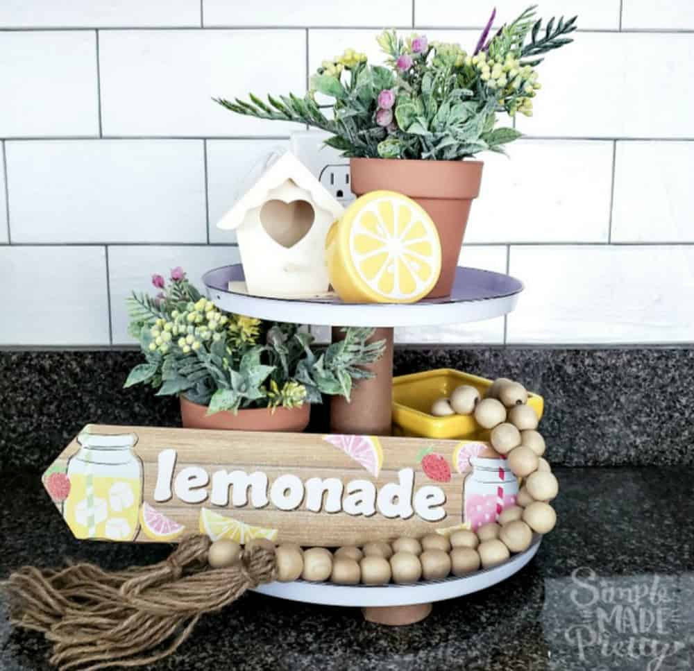 Spring tiered tray diy