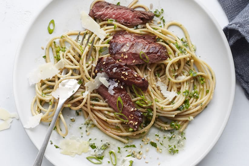 Steak spaghetti with pesto