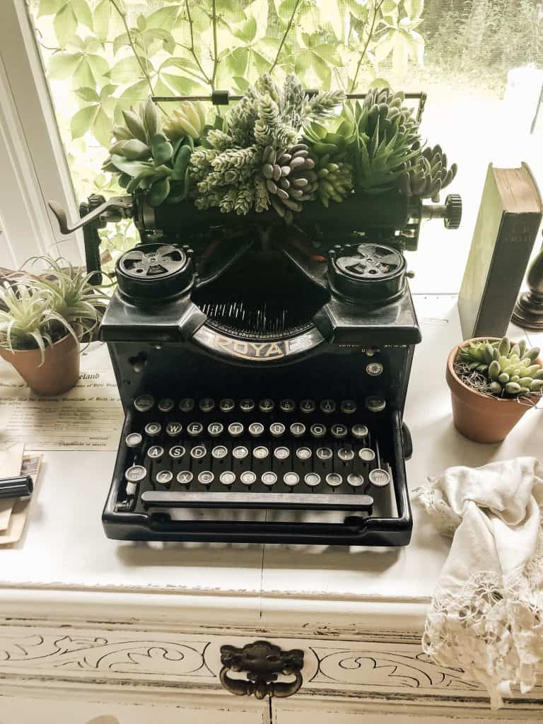 Succulent vintage typewriter vase