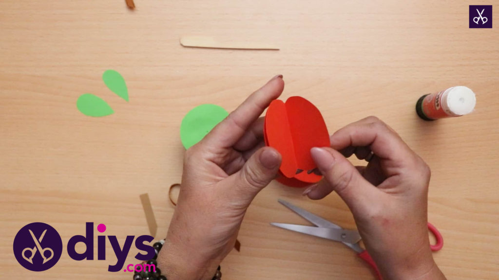 3d paper apple decor for fall glue