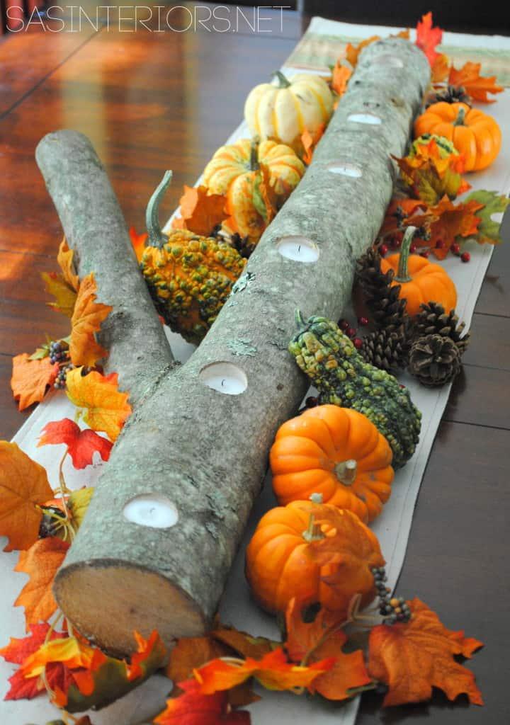 5 minute log and tealight autumn centrepiece